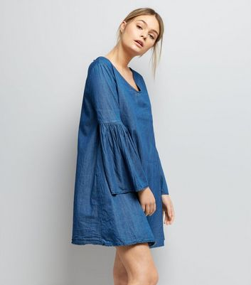 Mela Blue Denim Bell Sleeve Dress