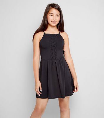 Teens Black Lattice Front Skater Dress