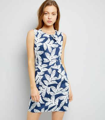 Mela Blue Leaf Print Tulip Dress