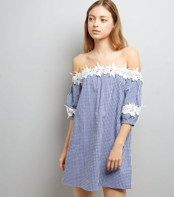 Blue Crochet Lace Trim Gingham Bardot Neck Dress