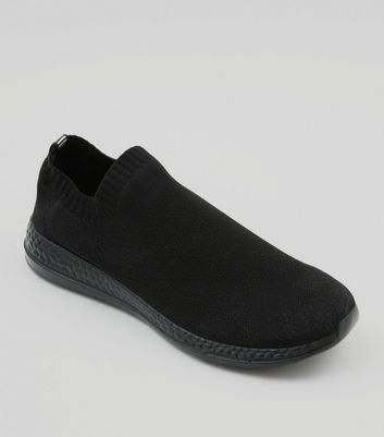 Black Slip On Runner Trainers