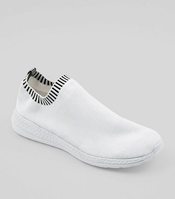 White Contrast Slip On Runner Trainers