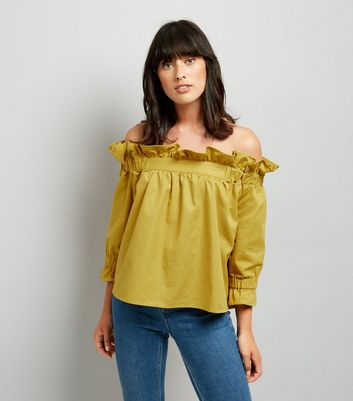Blue Vanilla Yellow Frill Trim Bardot Neck Top