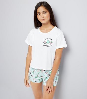 Teens White Pearfect Slogan Pyjama Set