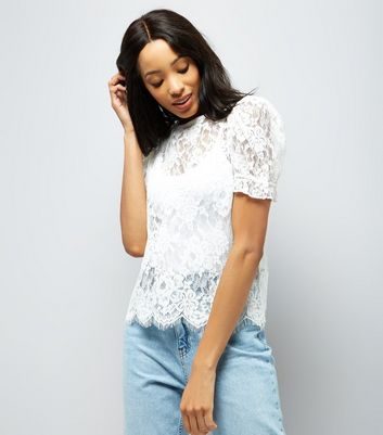 White Lace Scallop Hem Puff Sleeve Blouse