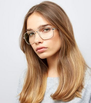 Silver T Bar Clear Lens Glasses