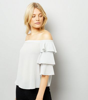 Pale Grey Tiered Sleeve Bardot Neck Top