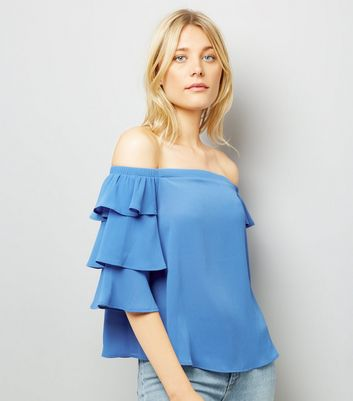 Blue Tiered Sleeve Bardot Neck Top