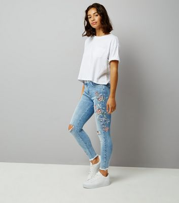 Petite Blue Floral Print Ripped Skinny Jeans