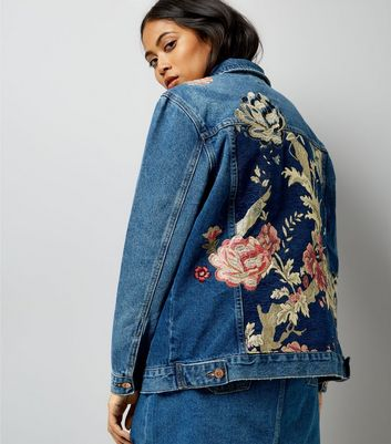 Petite Blue Floral Tapestry Back Denim Jacket