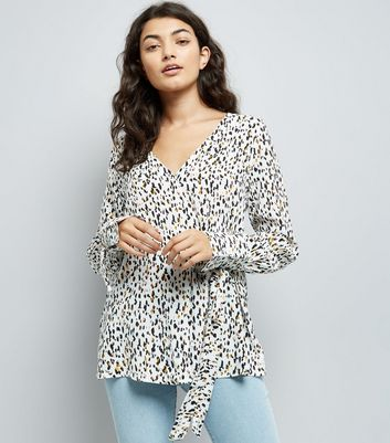 White Animal Print Tie Side Shirt