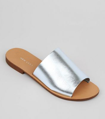 Silver Leather Mules