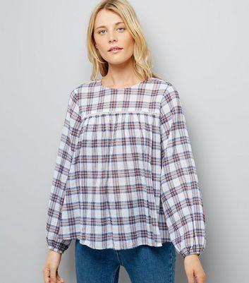 White Check Cut Out Long Sleeve Smock Top