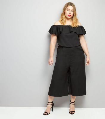 Curves Black Frill Trim Bardot Neck Jumpsuit