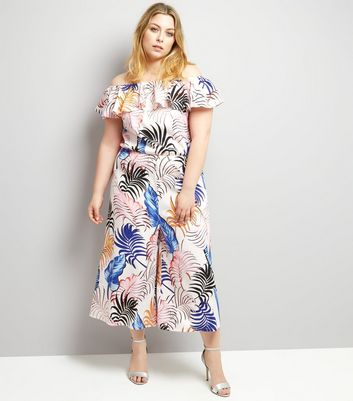 Curves White Tropical Print Frill Trim Culotte Jumpsuit