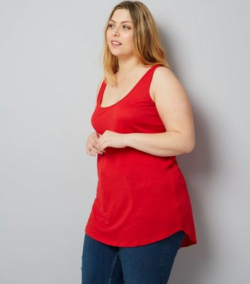 Curves Red Scoop Neck Vest
