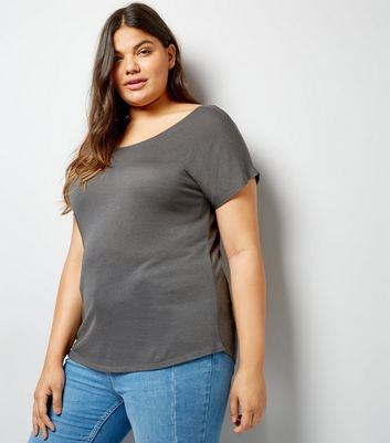 Curves Dark Grey Short Sleeve T-Shirt