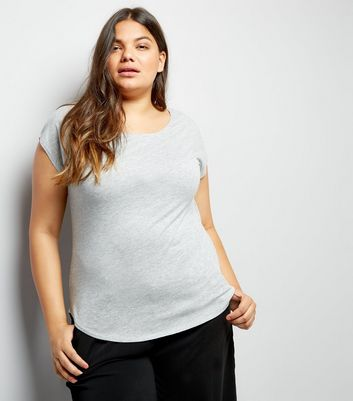 Curves Light Grey Short Sleeve T-Shirt