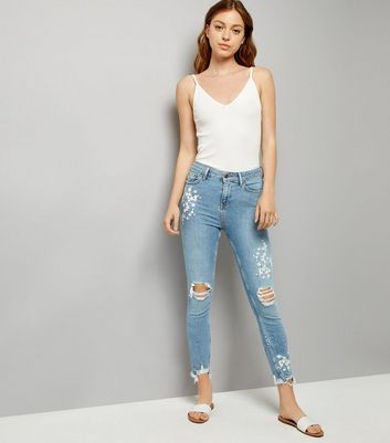 Tall Blue Ripped Fray Hem Embroidered Skinny Jeans