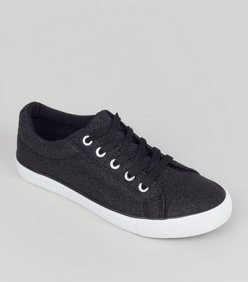 Teens Black Glitter Lace Up Trainers