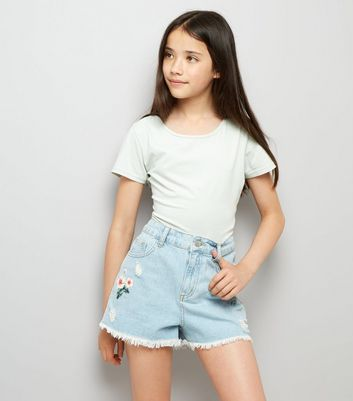 Teens Pale Blue Floral Print Denim Shorts