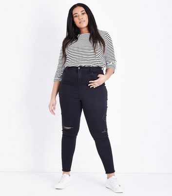 Curves Black Ripped Knee High Waist Skinny Jeans