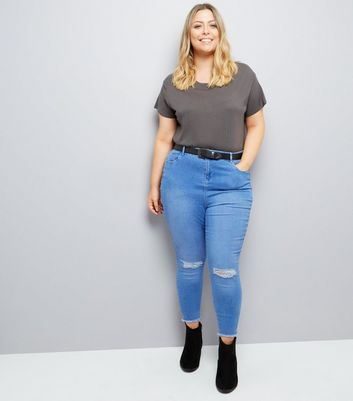 Curves Light Blue Ripped Knee Skinny Jeans