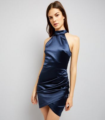 AX Paris Blue High Neck Wrap Front Dress