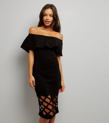 AX Paris Black Cut Out Hem Bardot Neck Dress