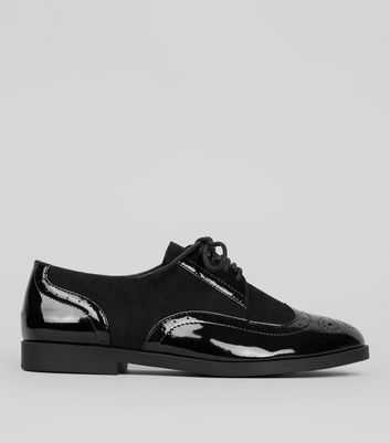 Teens Black Patent Panel Brogues