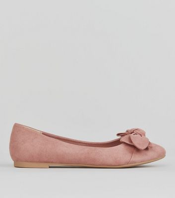 Teens Pink Suedette Bow Front Pumps