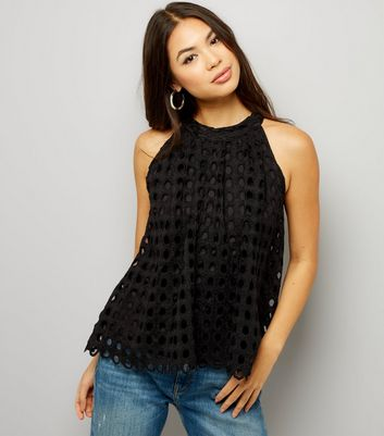 Apricot Black High Neck Circle Broderie Sleevless Top