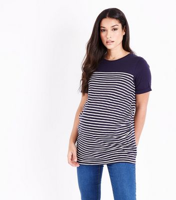Maternity Navy Stripe Longline T-Shirt