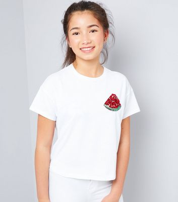 Teens White Watermelon Sequin Badge T-Shirt