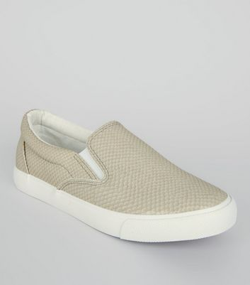 Grey Snakeskin Slip On Trainers