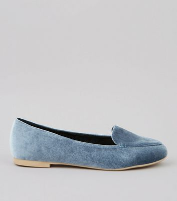 Blue Velvet Stitch Detail Loafers
