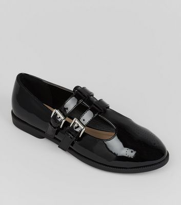 Teens Black Patent Double Strap School Shoes