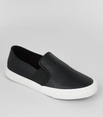 Teens Black Textured Slip On Plimsolls
