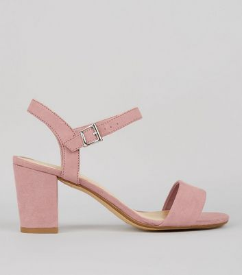 Teens Pink Suedette Block Heeled Sandals