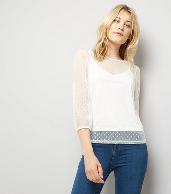 Cream Spot Mesh Gathered Sleeve Top