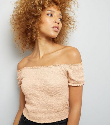 Light Brown Shirred Bardot Neck Crop Top