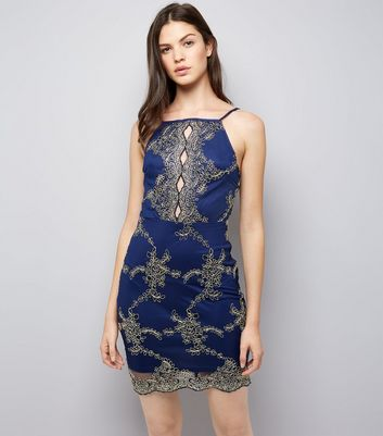 AX Paris Navy Embroidered Strappy Dress