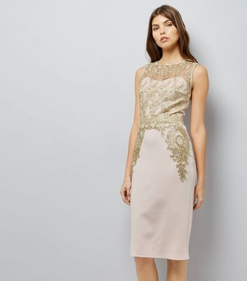 AX Paris Pink Metallic Lace Midi Dress