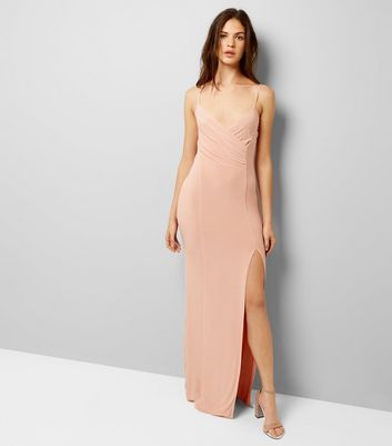 AX Paris Shell Pink V Neck Split Side Dress