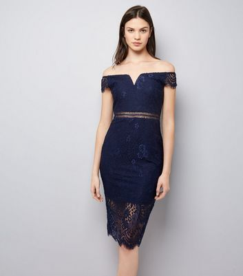 AX Paris Navy Lace Bardot Neck Midi Dress