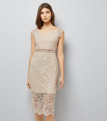 AX Paris Pink Lace Bardot Neck Midi Dress