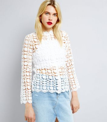 QED White Crochet Long Sleeve Top