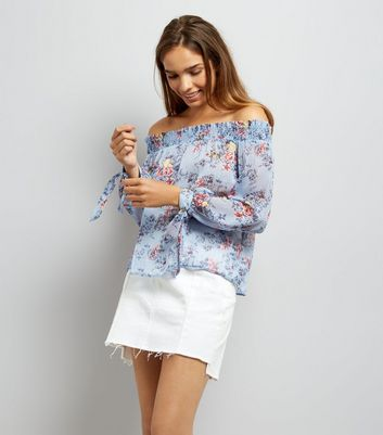 Blue Floral Print Shirred Bardot Neck Top