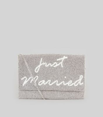 White Just Married Beaded Clutch