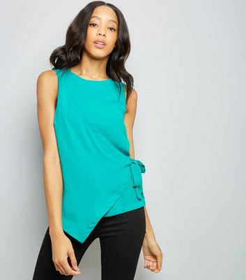 Bright Green Wrap Front Sleeveless Top